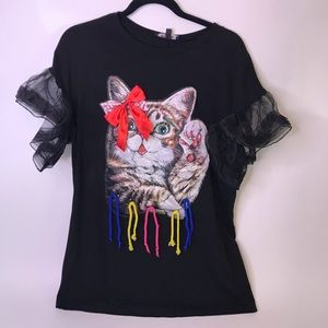 Boutique-style Cat Applying Mascara Blouse w/Tulle